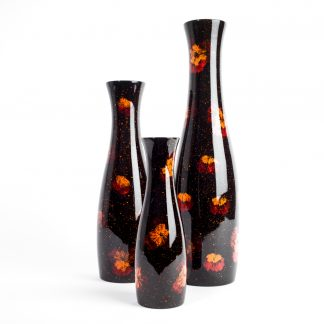 Silkwood Traders set of three pressed flower wooden lacquer vases.