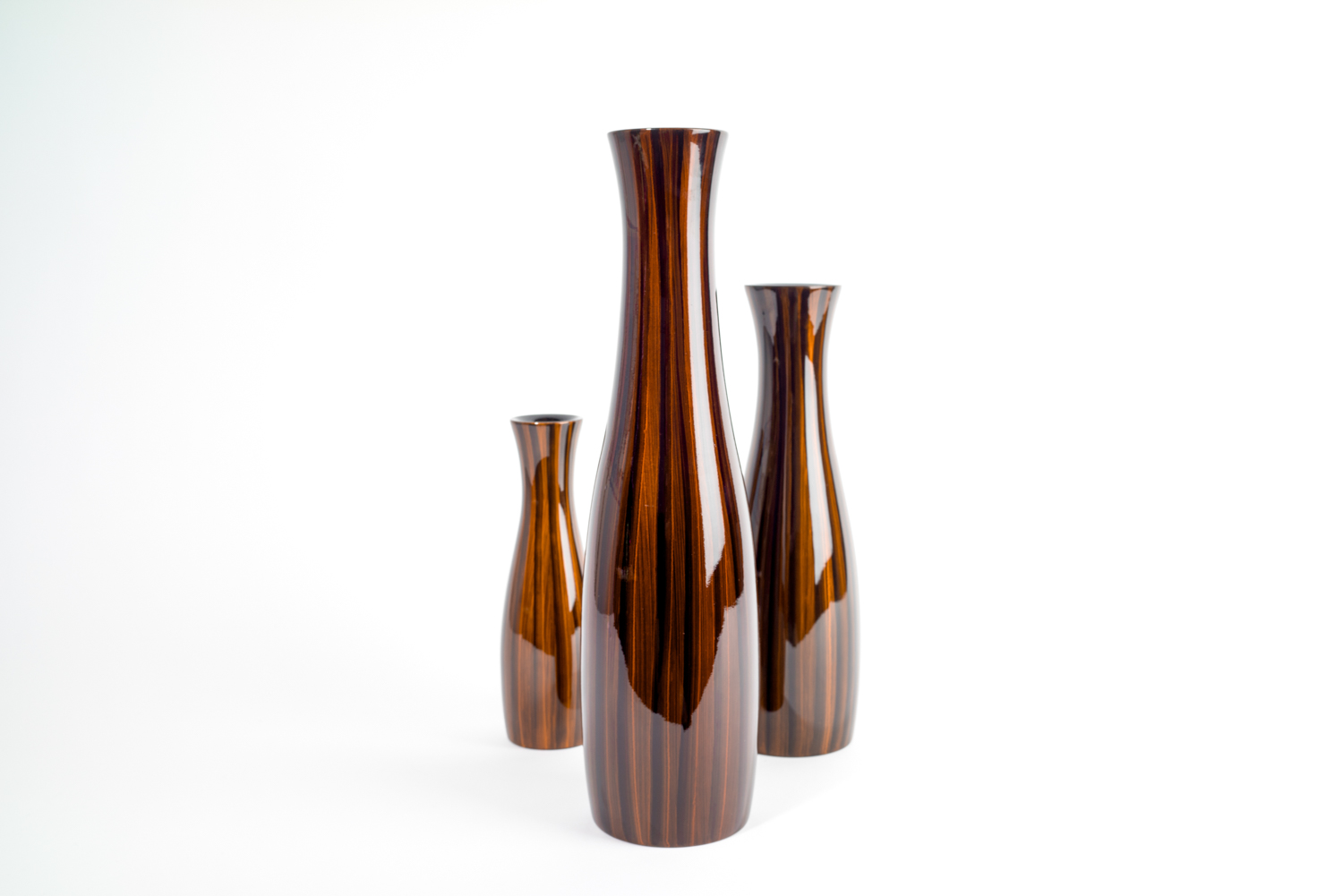 Tiger's Eye wooden lacquer vases. Available in three sizes, 25cm, 35cm and 45cm.