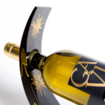 Gold splash wooden lacquer wine holder.
