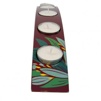 Purple lily wooden lacquer bridge tealight holder