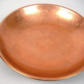 Metallic copper wooden lacquer serving bowl
