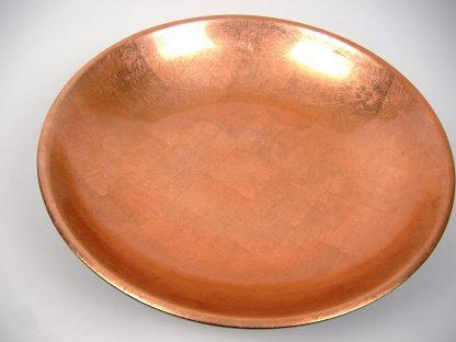 Metallic copper wooden lacquer serving bowl