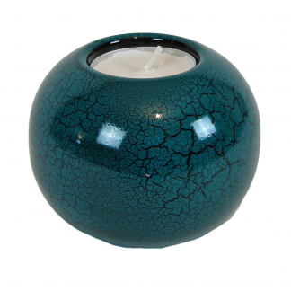 Turquoise crackle single wooden lacquer tealight holder