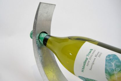 Metallic silver wooden lacquer wine holder