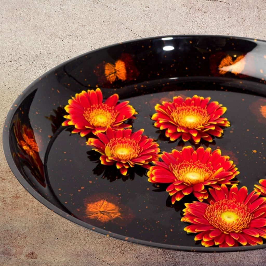 Pressed flower wooden lacquer serving bowl