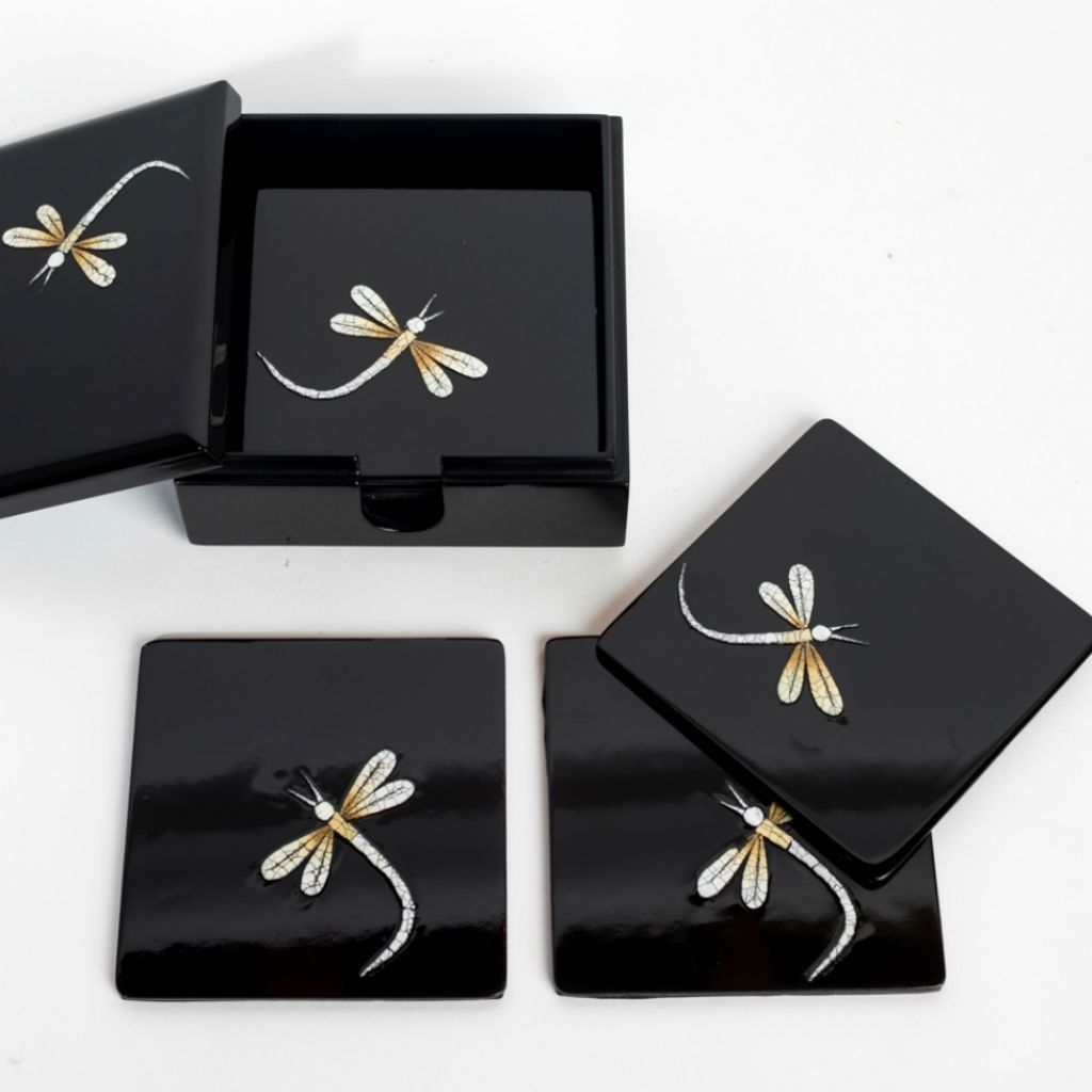 Silkwood Traders dragonfly wooden lacquer set of 8 coasters in matching lacquer box